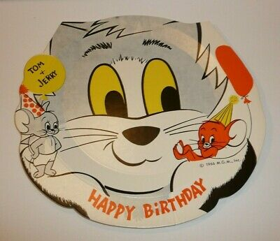 Vtg 1966 Tom and Jerry Paper Plate Happy Birthday M.G.M MGM INC 2 Mice Cat Mouse