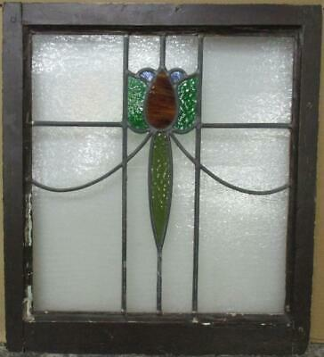 "MIDSIZE OLD ENGLISH LEADED STAINED GLASS WINDOW Abstract Floral 22.5"" x 25.25"""