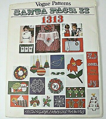 Vintage VOGUE SANTA Pack II Heat Transfer Patterns Embroidery ~ CHRISTMAS Decor