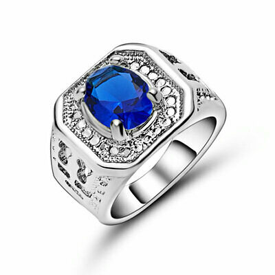 Hot  Engagement Cute Blue Topaz 18K White Gold Filled Wedding Ring Gift Size 7