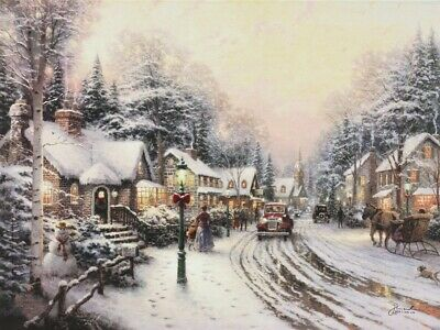 Thomas Kinkade Village Christmas Offset Lithograph Signed Numbered 18x24 Art