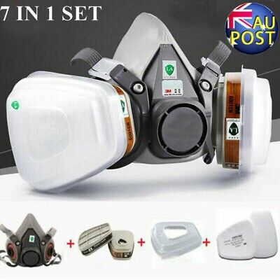 3M 7502 6200 7 Pcs Suit Half Face Gas Mask Respirator Painting Spraying Dust AU