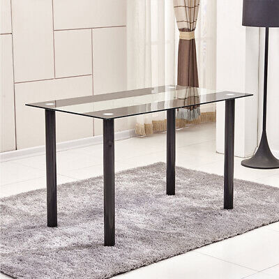 Black Clear Dining Table Tempered Glass Metal Legs Kitchen Dining Room Home New