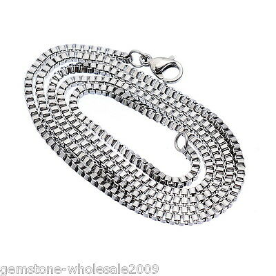 1-100PC Wholesale Stainless Steel Silver Tone 2mm Box Chain Necklace 51cm Sale