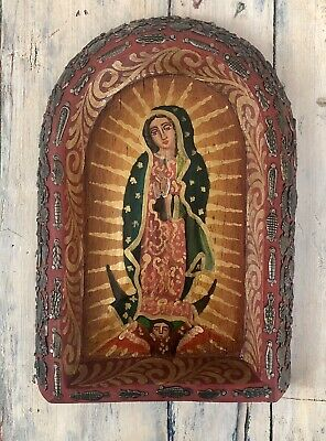 Ex Voto Retablo VIRGIN GUADALUPE NICHO Milagro Charms Our Lady of Guadalupe