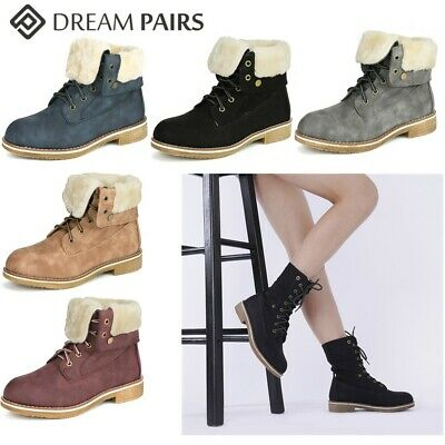 DREAM PAIRS Women's Warm Winter Montreal Faux Fur Ankle Boots Fold-Down 2 Style