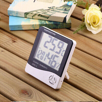 48E1 Plastic Weather Station Clock Office Thermometer Portable