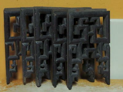 "Lot of 5 hand carved wooden 5""x3"" panel pieces supports geometric dark finish"