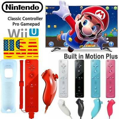 Built in Motion Plus Remote + Nunchuck Controller + Case for Nintendo Wii US SET