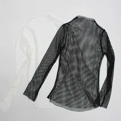 Summer Turtle Neck Fabala Mesh Fish Net Long Sleeve See Crop Top Blouse T-shirt