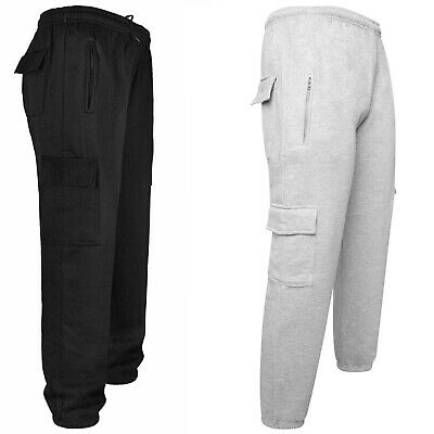 Mens Elasticated Fleece Lined Five Pockets Cargo Winter Bottoms Pants Trousers