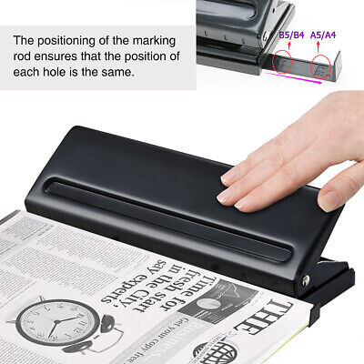 Adjustable 6 Hole Metal Hand Paper Punch Scrapbooking Ring Punches Office School