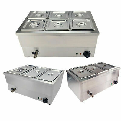 3/4/6 Pots Bain Marie Commercial Wet Well Heat Electric Food Warmer Pan Catering