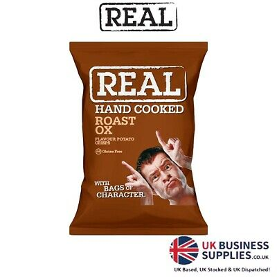 Real Crisps Hand Cooked Roasted Ox Flavour 24 x 35g
