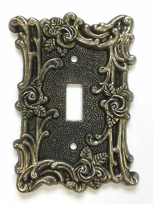 1967 American Tack Hardware 60T Light Switch Plate Brass Victorian Ornate Rose