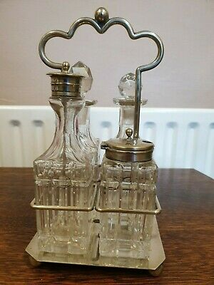 Antique Silver Plate And Gl Cruet
