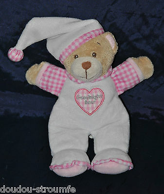 """Peluche Doudou Ours KEEL TOYS Blanc Rose Vichy Coeur """"Goodnight Bear"""" 25 Cm NEUF"""