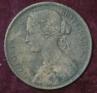 1862 One Penny Coin Queen Victoria better grade