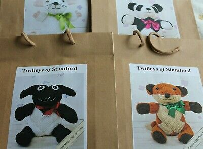 Twilleys kits to knit character knitted animals from squares.