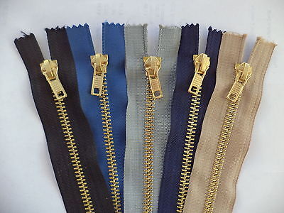 Brass Jeans Zip Fastener - Choice of colours - 4, 5, 6, 7, 8 inch