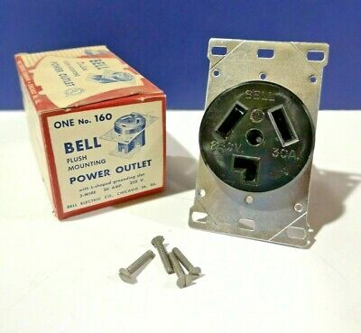 NEMA 10-30R Flush RECEPTACLE Power Outlet L Ground Slot 3-Wire 30A 250V Bell 160