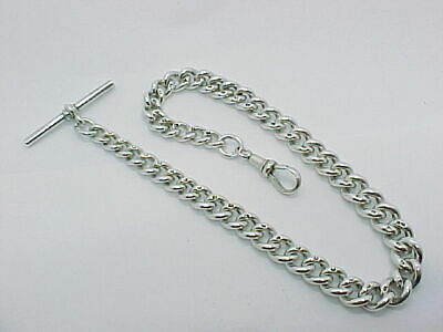 Antique Graduated Solid Silver Albert Pocket Watch Chain 1902