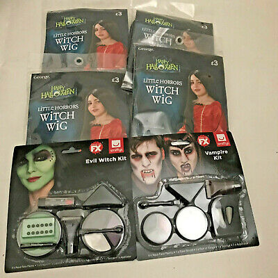 Halloween Bundles  Make-up/Face Paint x2 + Little Horror Witch Wigs x4