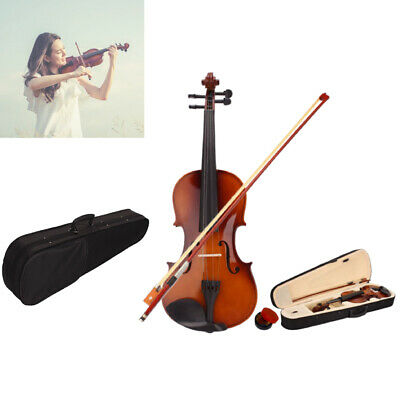 4/4 Size Beginners Acoustic Violin Fiddle Set with Case Bow Rosin Natural Color