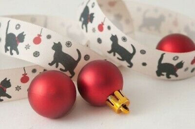 Christmas Black Cat Rbbon by Berisfords.Widths 15mm and 25mm Various Lengths