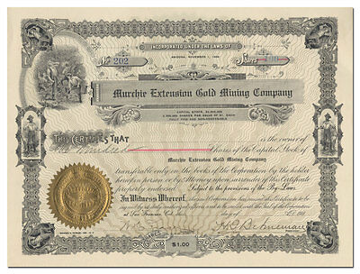 Murchie Extension Gold Mining Company Stock Certificate