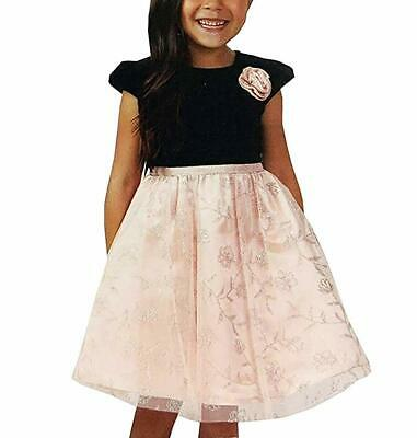 Jona Michelle Girls Velvet And Tulle Party Dress New Without Tags, Black/Pink