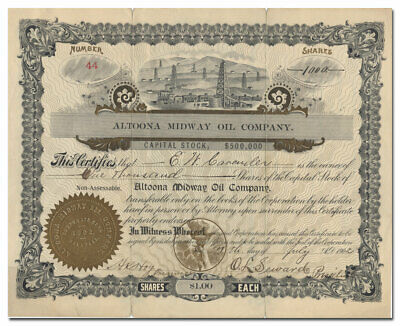 Altoona Midway Oil Company Stock Certificate