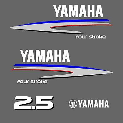 kit stickers YAMAHA 2.5 cv serie 2 - autocollant capot moteur hord-bord decals