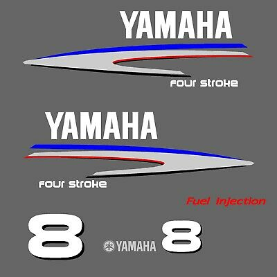 kit stickers YAMAHA 8 cv serie 2 - autocollant capot moteur hord-bord decals