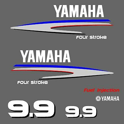 kit stickers YAMAHA 9.9 cv serie 2 - autocollant capot moteur hord-bord decals