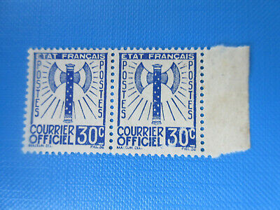 """Timbres France Service 1943.""""Francisque"""" .Paire N°2.Nsg.(*).Bdf.######### A 10%."""