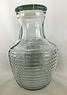 Anchor Hocking Ribbed Glass Pitcher Juice Water Carafe With Lid Refrigerator
