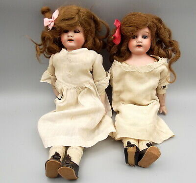 """Antique Morimura Brothers Bisque Doll Pair Japanese Jointed Composition 14"""" Tall"""