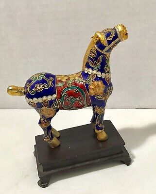 "Chinese Cloisonne Enamel Horse Figurine Blue Gold & Wood Stand ""Antique"" VTG"