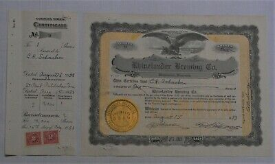 Rhinelanders Brewing Co. stock certificate with stub and documentary stamps