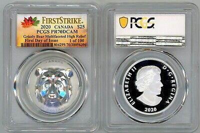 2020 $25 Canada Grizzly Multifaceted HR PR70 PCGS FDOI First Strike 1 of 100