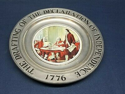 """Vintage Collector's Pewter Plate """"Drafting Of The Declaration of Independence"""""""