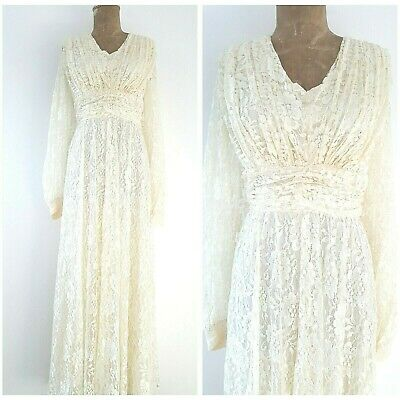 Vintage 80s Ivory Lace Wedding Dress Size Large Long Sheer Formal Cocktail Party