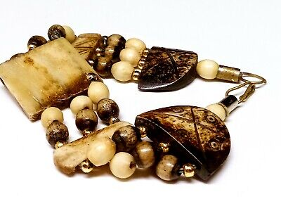 Vintage/ Antique Buffalo Bone Hand Carved Beaded Bracelet