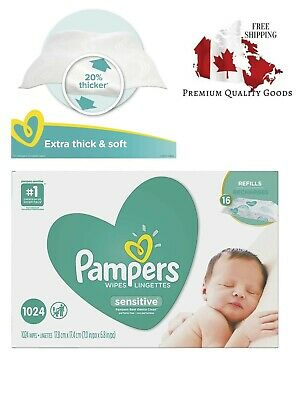 Baby Wipes, Pampers Sensitive UNSCENTED 16 Refill Packs for Dispenser Tub