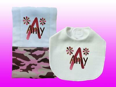 New Personalized Handmade Pink Camouflage Baby Girl Bib and Burp Cloth Set