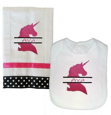 New Personalized Embroidered Pink Black Unicorn Theme Bib and Burp Cloth Set
