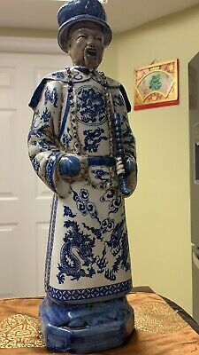 Blue and White, Porcelain Statue of Emperor Qianzhao in Qing Dynasty