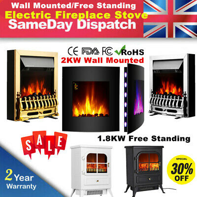 Wall Mounted Electric Fireplace Heater Fire Remote Control LED Backlit 1.8KW/2KW