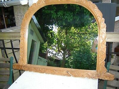 Victorian style carved pine overmantle mirror